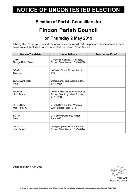 Findon Elections